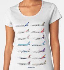 Airbus A380 Operators Illustration - Blue Version Women's Premium T-Shirt
