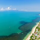 Aerial panoramic view of ocean, beach and blue cloudy sky by Lukasz Szczepanski