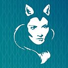 Faces - foxy lady on a teal wavey background by VrijFormaat