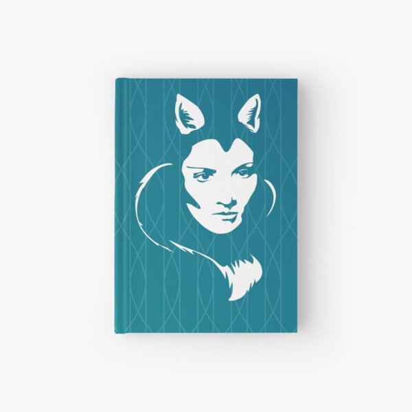 Faces - foxy lady on a teal wavey background Hardcover Journal