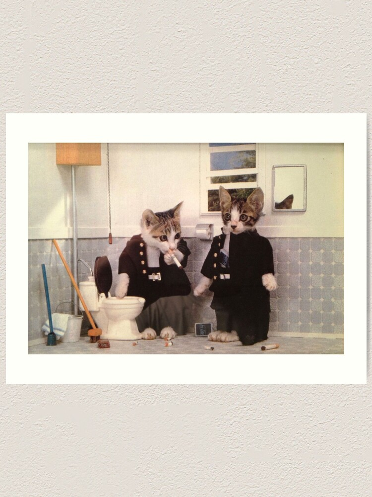 Alternate view of Smoking Kittens Art Print