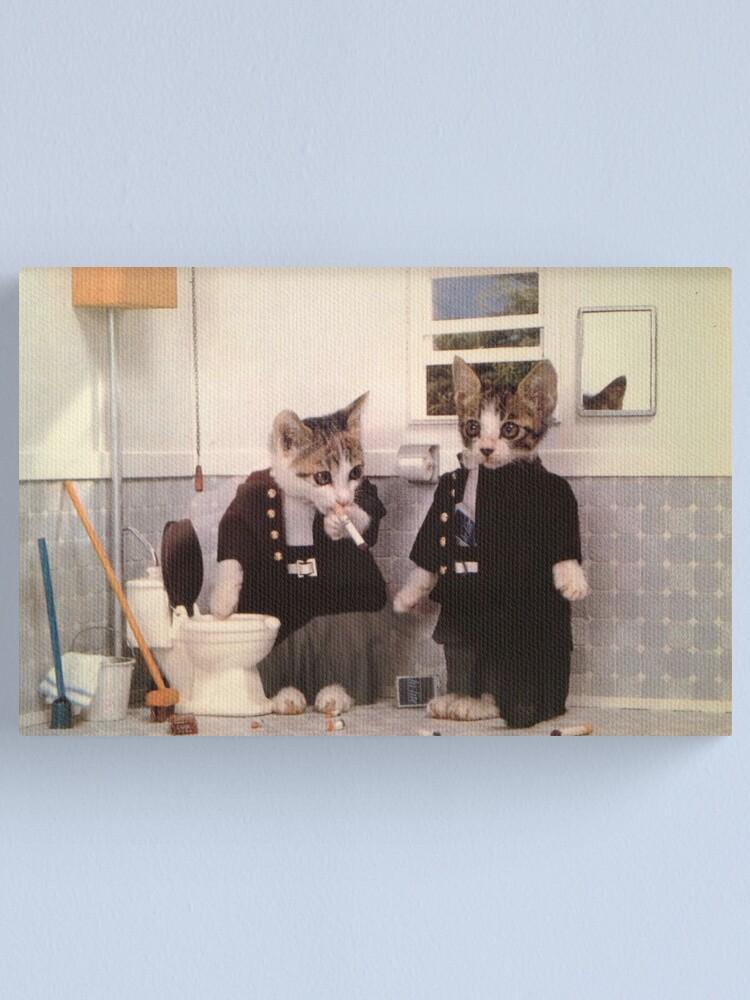 Alternate view of Smoking Kittens Canvas Print