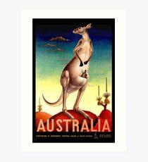 """AUSTRALIA OUTBACK"" Vintage Kangaroo Travel Poster Art Print"