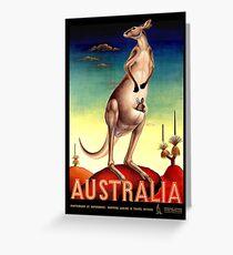 """AUSTRALIA OUTBACK"" Vintage Kangaroo Travel Poster Greeting Card"