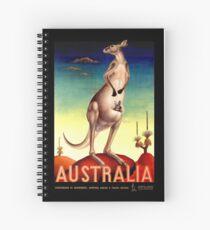 """AUSTRALIA OUTBACK"" Vintage Kangaroo Travel Poster Spiral Notebook"
