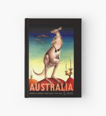 """AUSTRALIA OUTBACK"" Vintage Kangaroo Travel Poster Hardcover Journal"