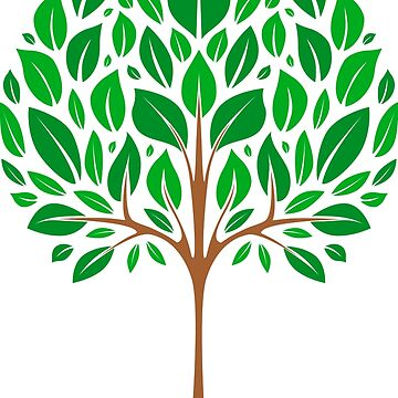 Green tree on a white background. Flat design style. by Afone4ka