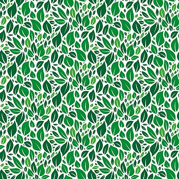 Green leafs. Seamless pattern. Flat design style. by Afone4ka