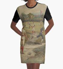 Vintage-Malerei eines Baseball-Spiels (1887) T-Shirt Kleid