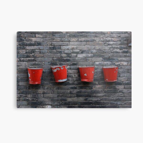 Red on Grey Metal Print