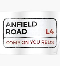 """Liverpool """"Come on you reds"""" street sign - Liverpool wall art - Liverpool posters - Liverpool accessories Poster"""