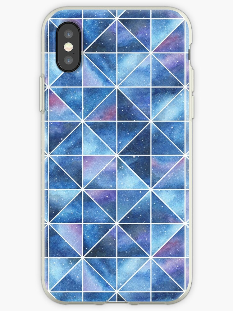 Geometric Watercolour Galaxy Squares and Triangles by Hazel Fisher
