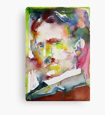 NIKOLA TESLA - watercolor portrait.10 Metal Print