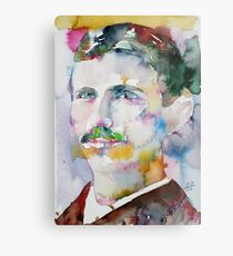 NIKOLA TESLA - watercolor portrait.11 Metal Print