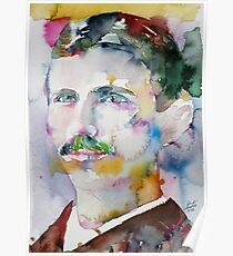NIKOLA TESLA - watercolor portrait.11 Poster
