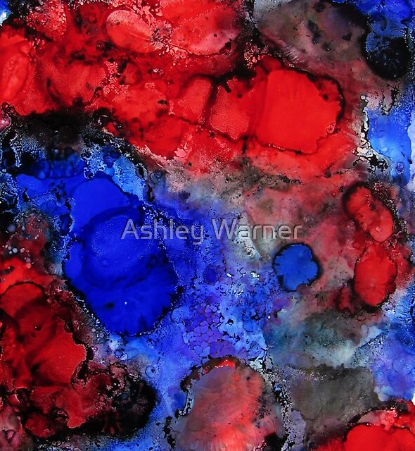 Red and Blue Alcohol Ink by Ashley Warner