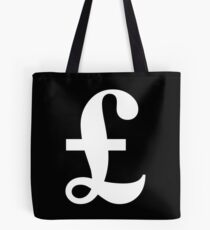 MONEY, £, POUND, Pound sign, currency, symbol, sign, success, finance, lucre, WHITE on Black Tote Bag
