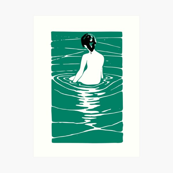 Lady in an Onsen, Japanese, Japan Art, Onsen, Bath Art Print