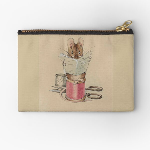 The Tailor Mouse, Beatrix Potter, Frontispiece. Zipper Pouch