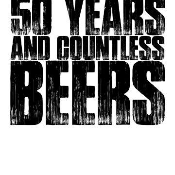 50 Years And Countless Beers Funny Birthday Gift Shirt by MichaelAndrewLo