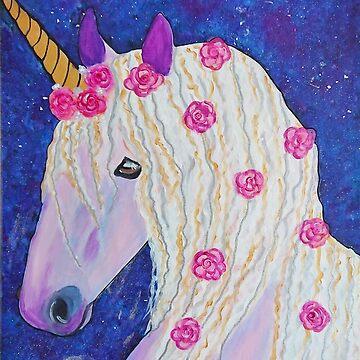 Pink Flower Unicorn by IvysCraftShop