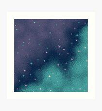 Lilac and Aqua Pixel Galaxy Art Print