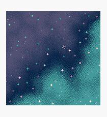 Lilac and Aqua Pixel Galaxy Photographic Print