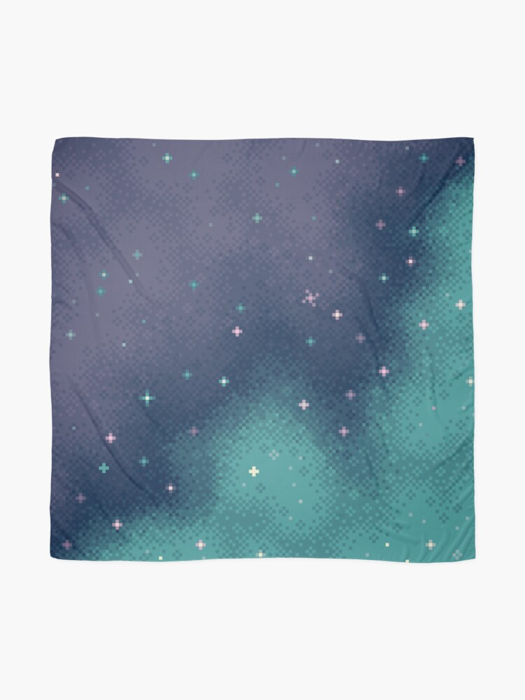 Alternate view of Lilac and Aqua Pixel Galaxy Scarf