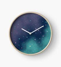 Flieder und Aqua Pixel Galaxy Uhr