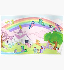 retro g1 my little pony panoramic view show stable Poster