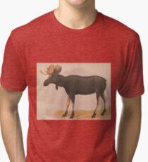 Vintage Illustration of a Moose (1874) Tri-blend T-Shirt