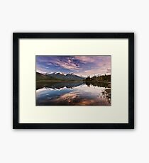 Sunset At The Vermilion Lakes Framed Print