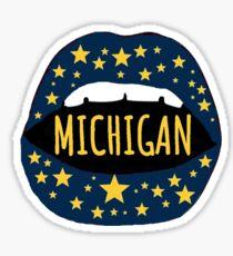 University of Michigan Ann Arbor Maize Blue Lips Umich Sticker
