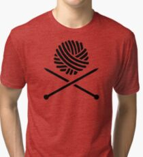 Knitting wool needles Tri-blend T-Shirt