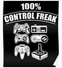 100% Control Freak Retro Vintage Video Game Controllers Poster