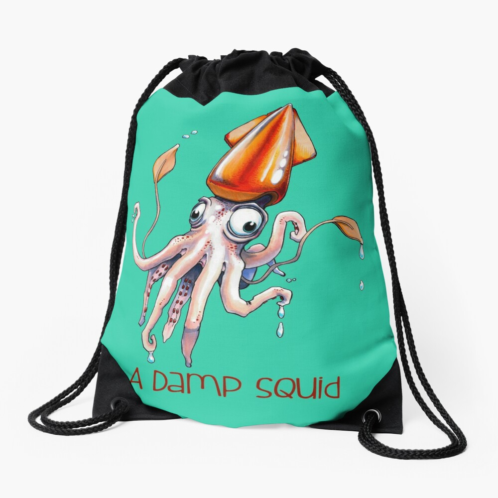 A Damp Squid Drawstring Bag
