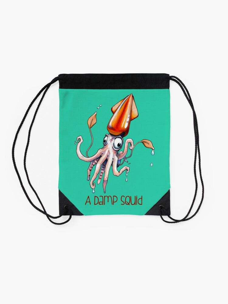 Alternate view of A Damp Squid Drawstring Bag