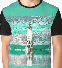 """Frankfort Lighthouse Reflections - Teal"" - Fluid Art Graphic T-Shirt"