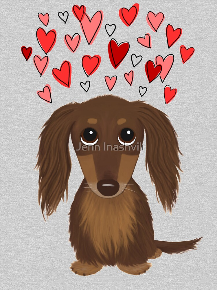 Longhaired Chocolate Dachshund Cartoon Dog with Valentine Hearts by ShortCoffee