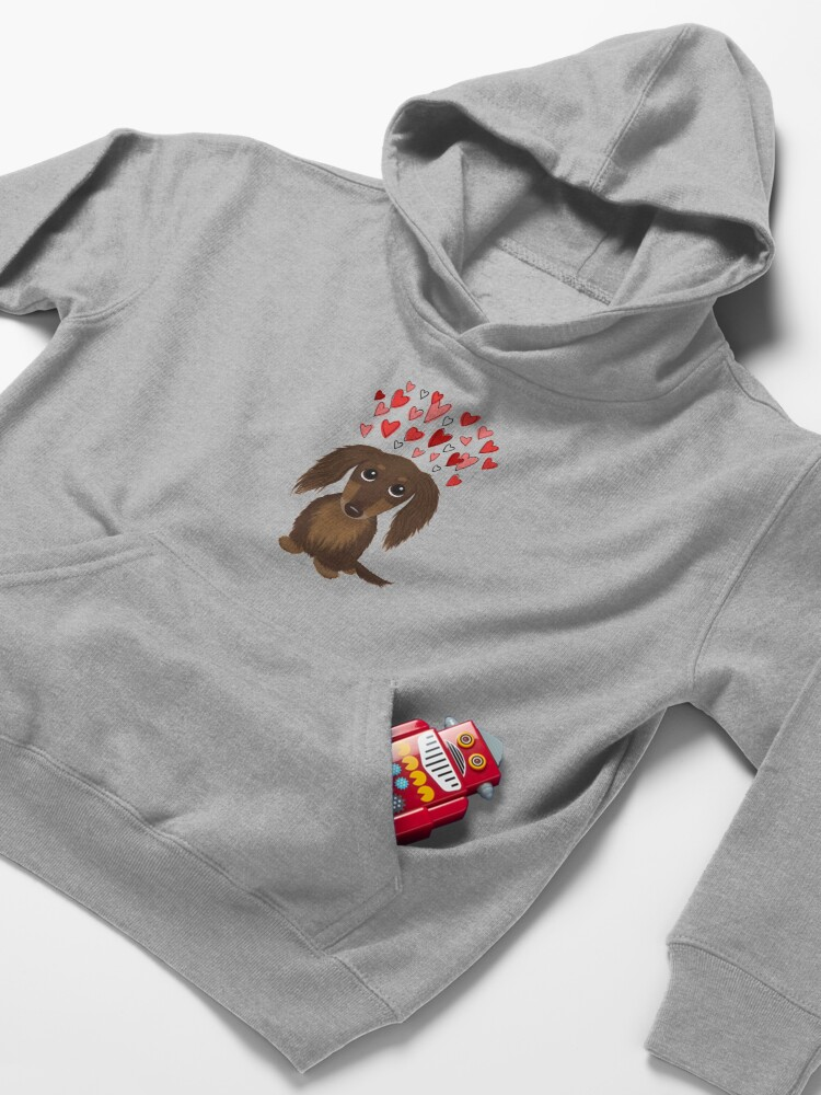 Alternate view of Longhaired Chocolate Dachshund Cartoon Dog with Valentine Hearts Kids Pullover Hoodie