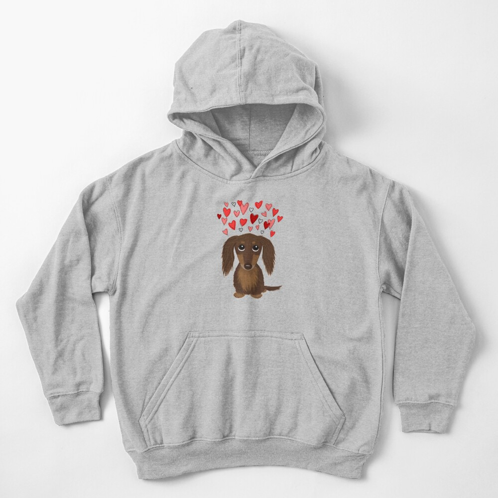 Longhaired Chocolate Dachshund Cartoon Dog with Valentine Hearts Kids Pullover Hoodie