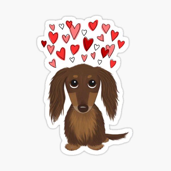 Longhaired Chocolate Dachshund Cartoon Dog with Valentine Hearts Sticker