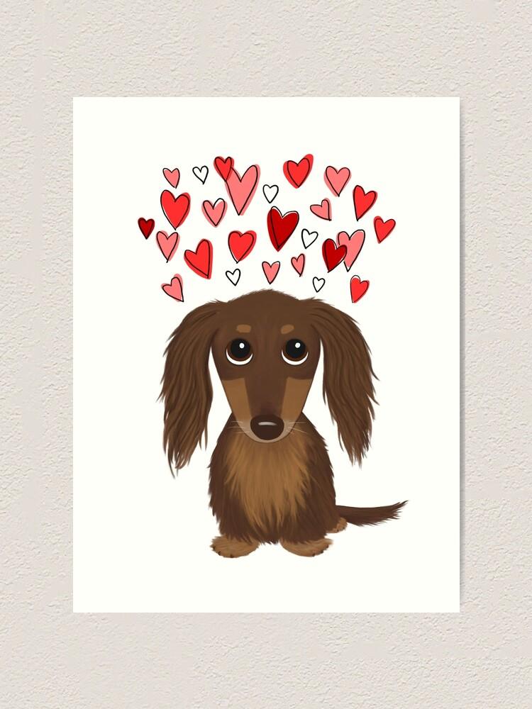Longhaired Chocolate Dachshund Cartoon Dog With Valentine Hearts