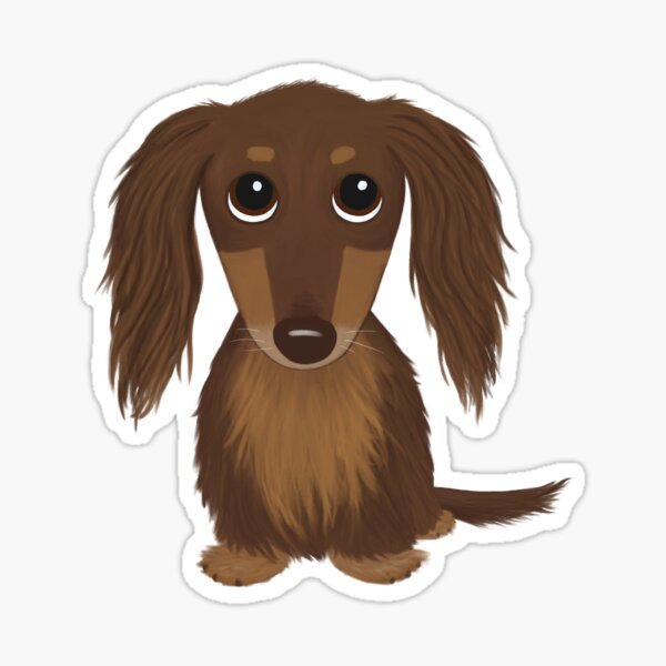 Longhaired Chocolate Brown Dachshund Cartoon Dog Sticker