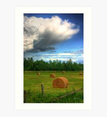 Clouds Over a Hayfield in Ontario Art Print