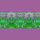 Pink and Green Art Deco Allium Flower Border by LaRoach