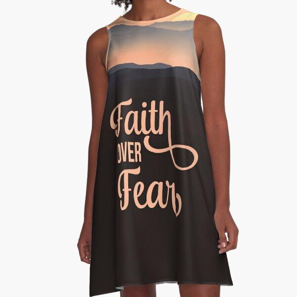 Faith Over Fear - Christian Quote - Beautiful Landscape Design A-Line Dress
