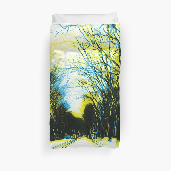 On-the-road Blue&Yellow Duvet Cover