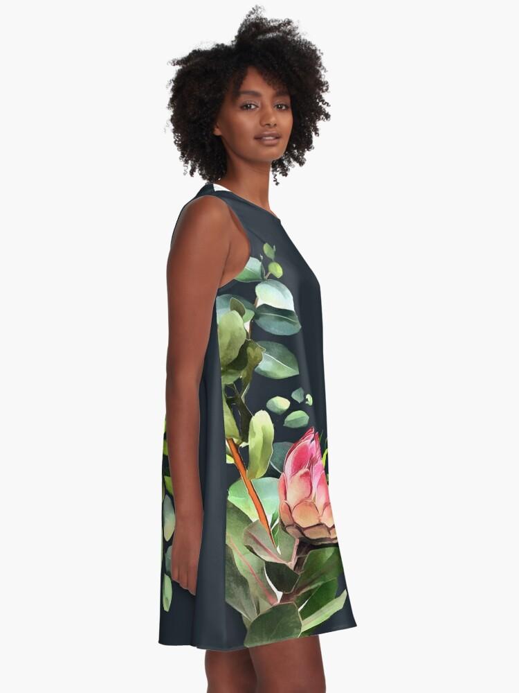 Alternate view of bush blue A-Line Dress