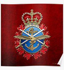 Canadian Armed Forces - CAF Badge over Red Velvet Poster